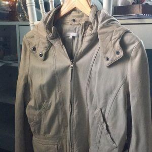 Vince tan leather moto jacket